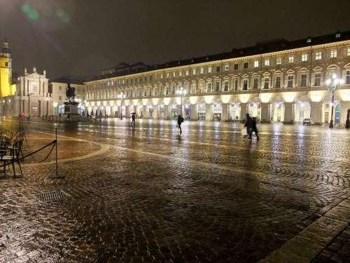 Turin Italy Piedmont Night Lighting Space