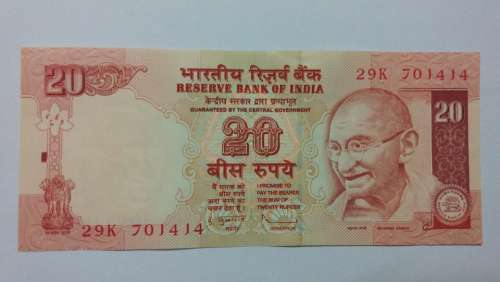Twenty Rupees Banking Currency Money Business