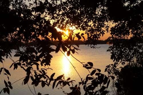 Twilight Mood Dusk Sunset Botswana Guma Lagoon