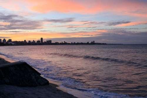 Twilight Sunset Mar Sky Beach Brazil João Pessoa