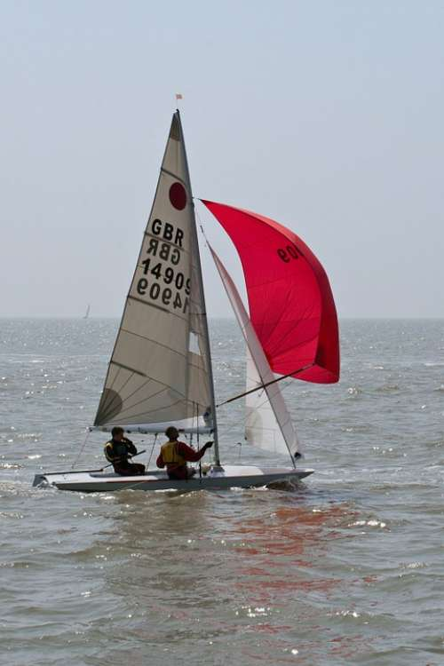 Two Man Dingy Dingy Full Sail Red Water Sailing