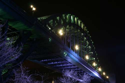 Tyne Tyne Bridge Newcastle High Level Bridge Night