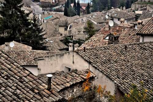 Umbria Italy Spoleto Roofs Borgo Ancient
