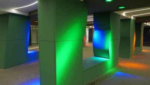 Underpass Columns Color Lighting