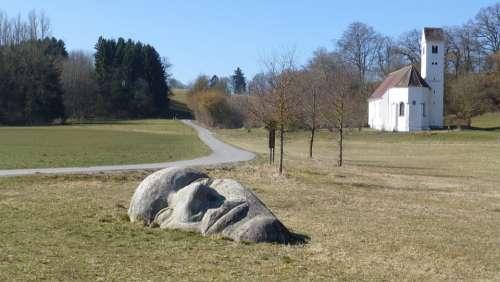 Upper Bavaria Denklingen Rock Face The Lost Face