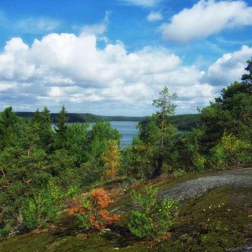 Uppland Sweden Lake Landscape Scenic Forest Trees