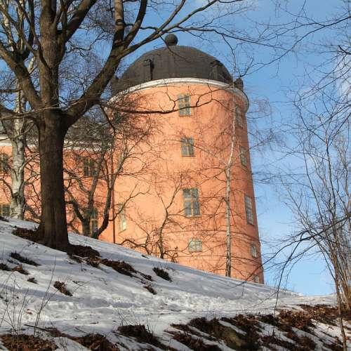 Uppsala Castle Uppsala Castle Winter Pink Sweden