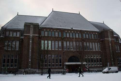 Utrecht Neude Post Office Winter Snow Building