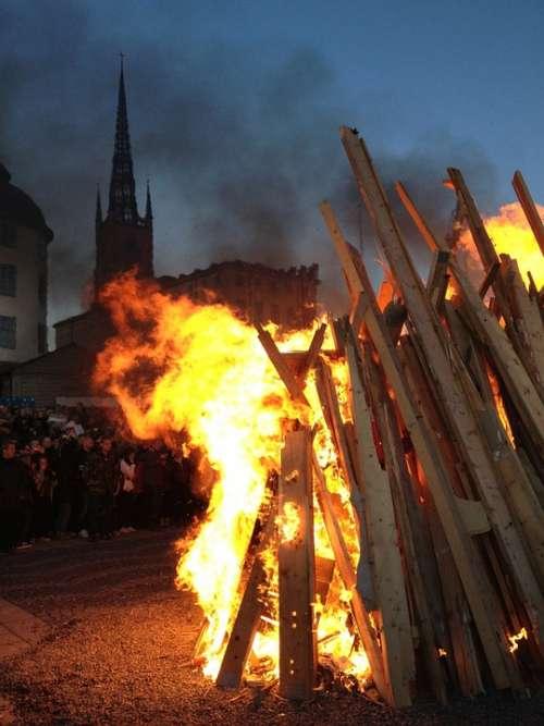 Valborg Bonfire Riddarholmen Stockholm Fire Sweden