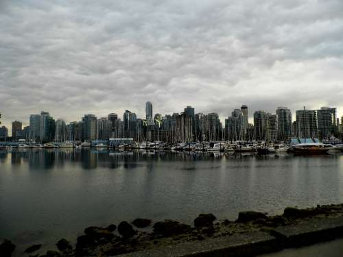 Vancouver Canada Skyline Water Cloudiness Rainy