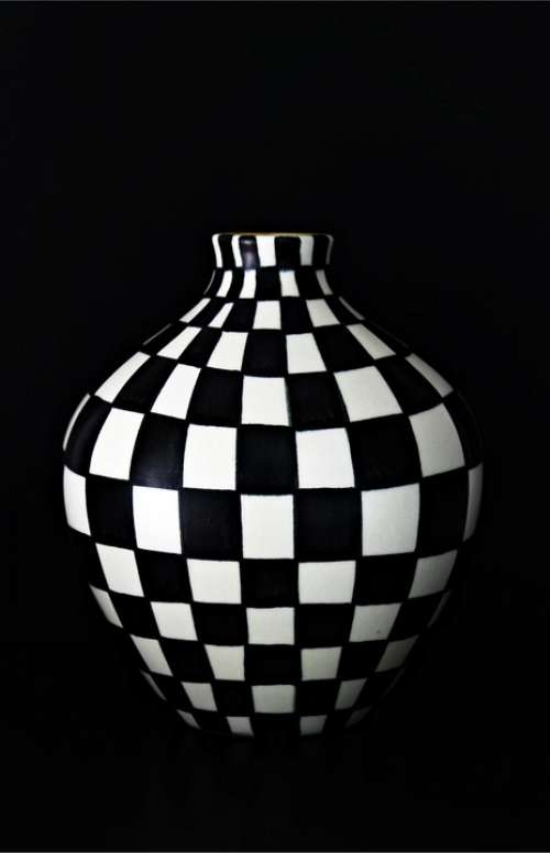 Vase Hand Painting Black And White Art Abstract