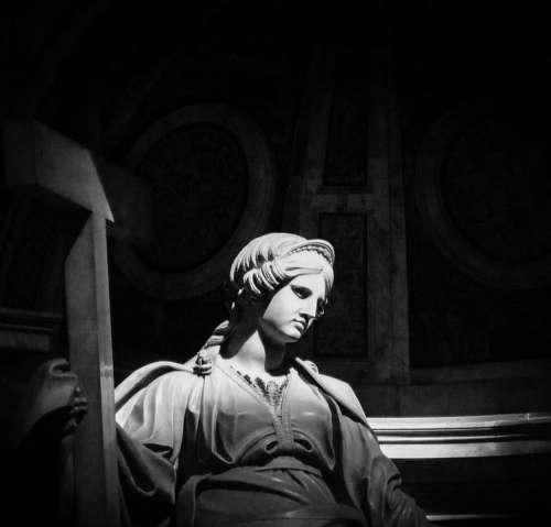 Vatican City Statue Black And White Church St