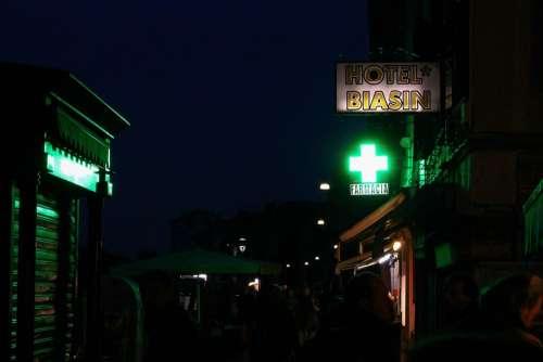 Venice At Night Italy Green Light