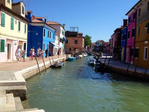 Venice Water Channel Sky Warm Houses Colorful