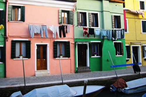 Venice Houses Italy Colors Windows Washing