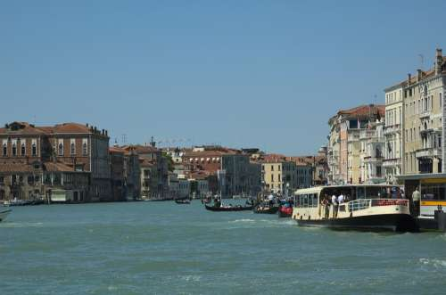 Venice Italy Sky Clouds Canal Waterway Boats
