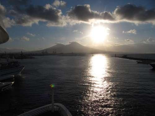 Vesuvius Water Sun View Of The Ship