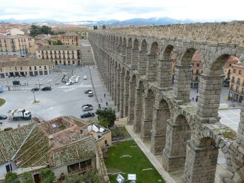 Viaduct Segovia Spain Castile Historic Center