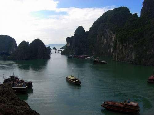 Vietnam Halong Bay Water Mountains Ships Boats