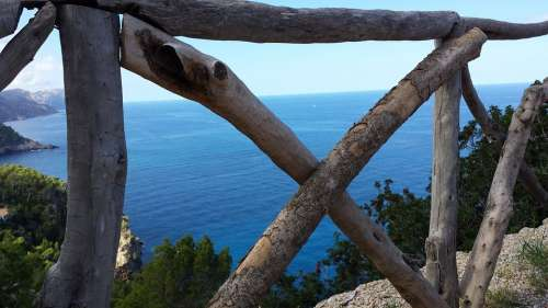View To The Sea Fence Wood Old Gnarled Landscape