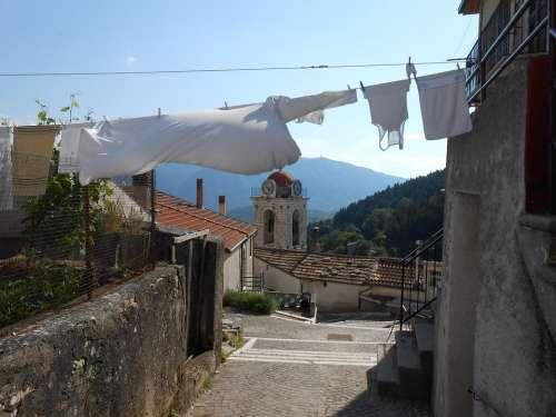 Village Alley Road Italian Church Steeple Laundry
