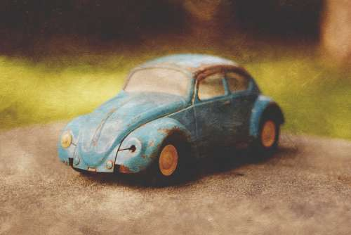 Vintage Toy Car Bug Beetle Blue Texture Art