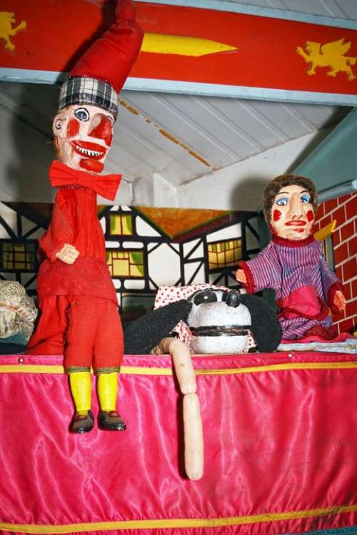 Vintage Punch Judy Puppets Attraction Childhood