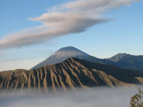 Volcano Indonesia Clouds Bromo