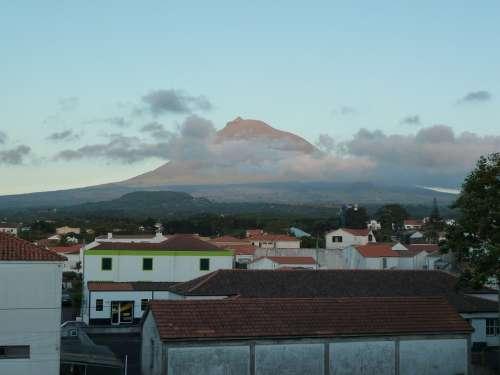 Volcano Pico Azores Village Landscape Nature