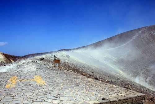 Vulcano Aeolian Islands Sulphur Field Crater Rim