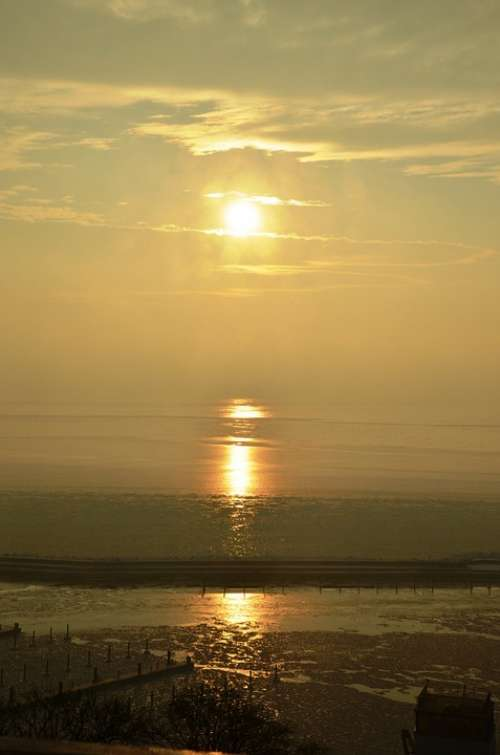 Wadden Sea Ebb Sun Sunset Baltic Sea Rügen