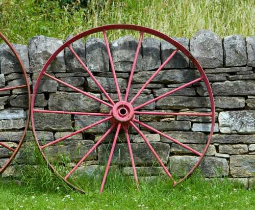 Wagon Wheel Wheel Old Red Leaning Wall Stone