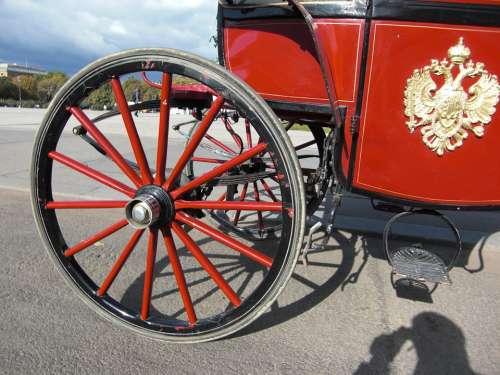 Wagon Wheel Horse Drawn Carriage Vienna Austria