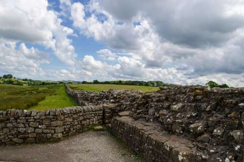 Wall England Stone Frontier Roman Old Walk