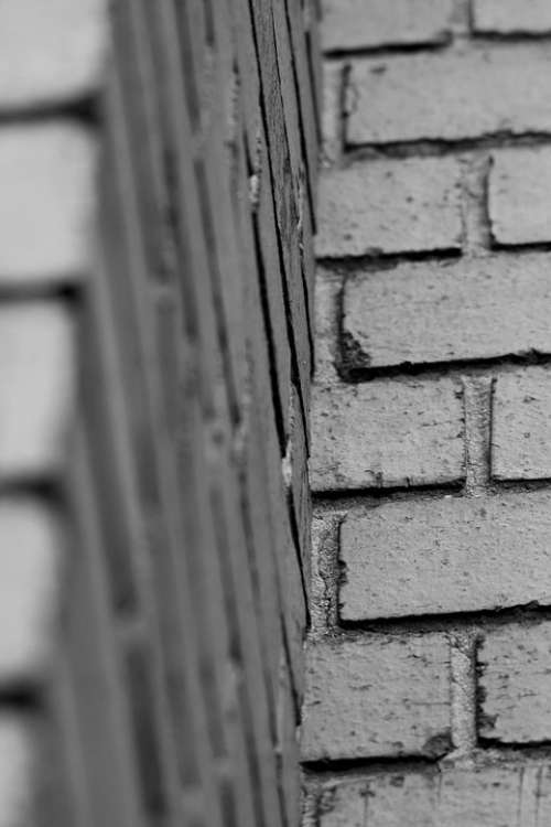 Wall Brick Black And White Corner Rows Repetition