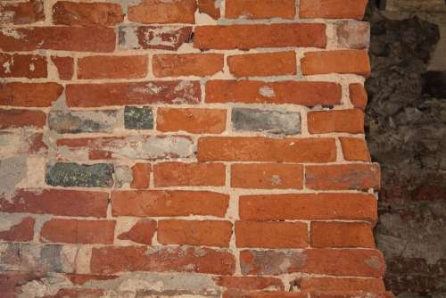 Wall Brick Old Hard Whitish Red Bricked Fund