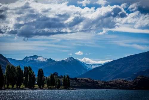 Wanaka New Zealand New Lake Wanaka Mountains Cloud