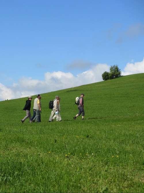 Wanderer Away Meadow Sky Blue Landscape Nature