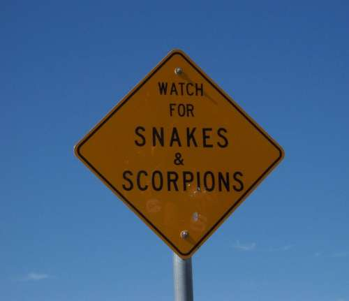 Warning Snakes Scorpions Sign Signage Poisonous