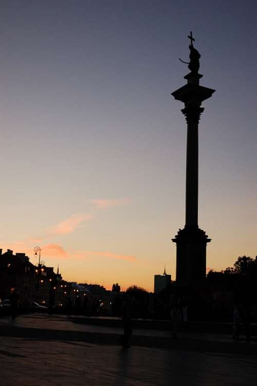 Warsaw Monument Poland Evening