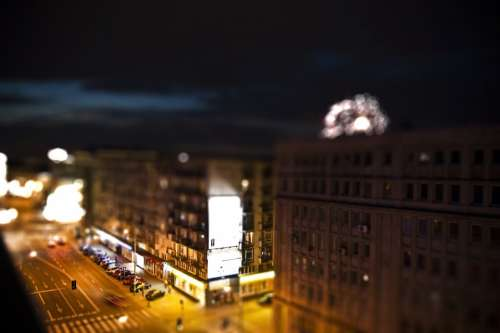 Warsaw Night Street Tiltshift Blur Bokeh