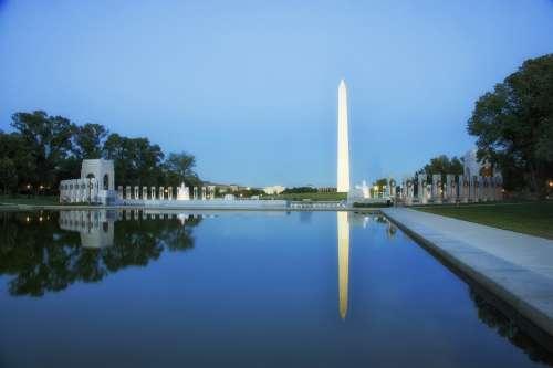 Washington Dc Sunset Dusk Evening Reflecting Pool