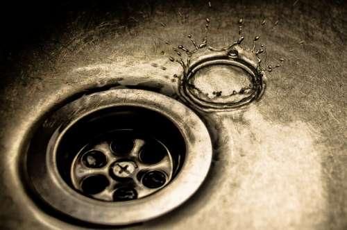 Water Drops Water Drops Sink Dark Chrome Wet