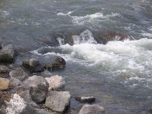 Water Splash Rocks Rapids Flow River Landscape