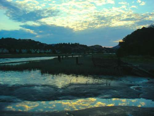 Water Low Tide Reflection Clouds Sunset Evening