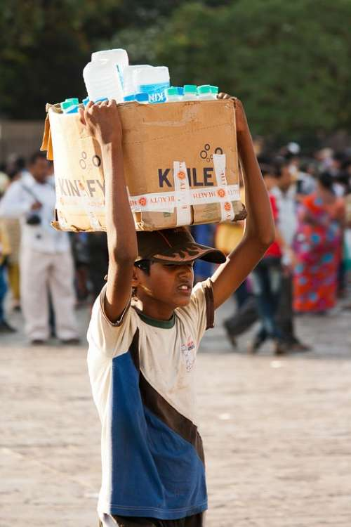 Water Seller India Boy Head Carry Box People