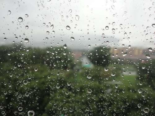 Water Rain Drops Damp Wet City Rainy Raining