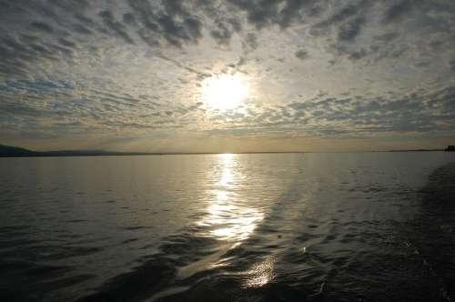 Water Lake Constance Clouds Sun Evening Lake Sky