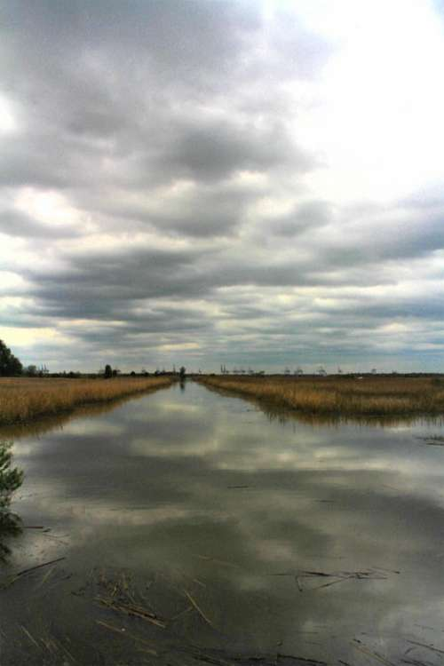 Water Color Sky Canal Savannah Water Clouds Hdr