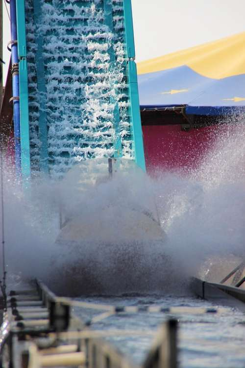 Water Rail Water Slide Log Flume Water Inject Wet